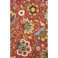 Hand Tufted Floral Pattern Red/ Blue  Wool Area Rug (3'6 x 5'6)
