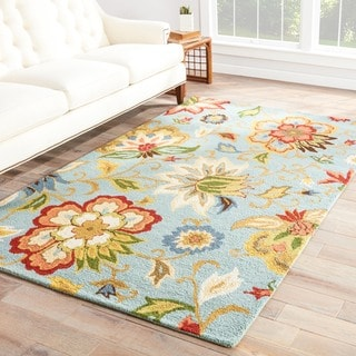 Hand Tufted Floral Pattern Blue/ Multi Wool Area Rug (2' x 3')