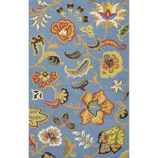 Indo Hand-tufted Light Blue/ Multi-colored Floral Wool Area Rug (2' x 3')