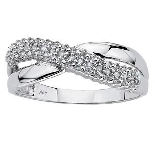 PalmBeach 10k White Gold .1 TDW Diamond Accent Crossover Ring (G-H, I2-I3)