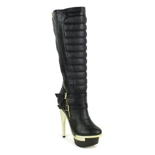 Fahrenheit Women's Z-Nivea-03 Channel Stiched Quilted Goldtone Hardware Knee-high Boot