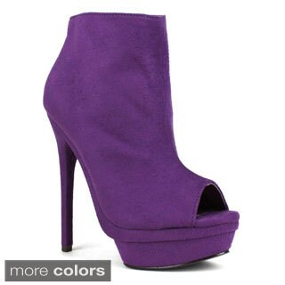Fahrenheit Women's Avril-02 Peep-toe Ankle High Heel Platform Bootie