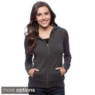 Ply Cashmere Women's Solid Zip-front Hoodie