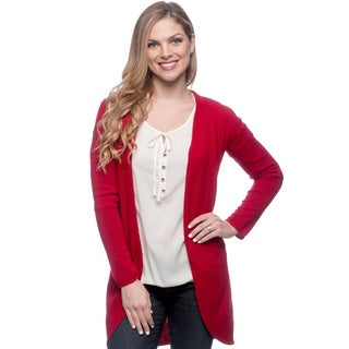 Ply Cashmere Women's Scarlet Rose Open-front Duster Sweater