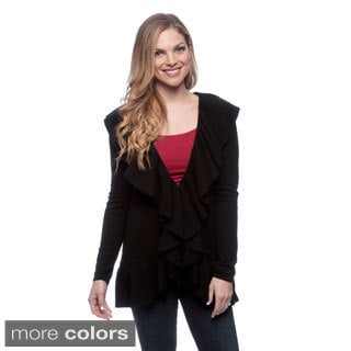 Ply Cashmere Women's Long Sleeve Ruffled Cardigan