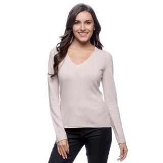 Ply Cashmere Women's Light Pink Rolled-edge Sweater
