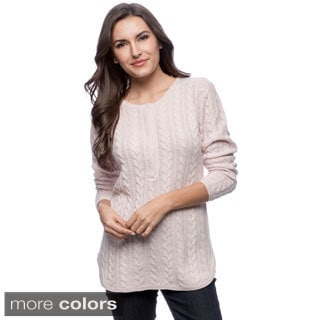 Ply Cashmere Women's Cabled Henley Sweater