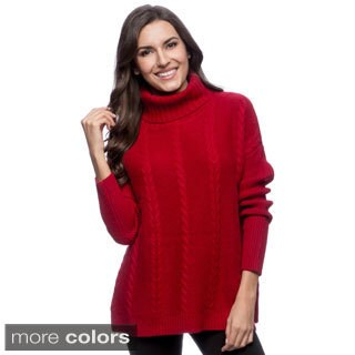 Ply Cashmere Women's Cabled Turtleneck Sweater