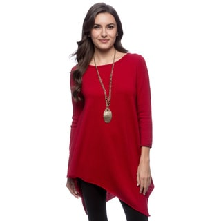 Ply Cashmere Women's Scarlet Rose 3/4-sleeve Tunic