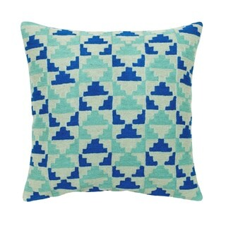 Mela Artisans Blue and Green Wool Embroidered Cotton Pillow, Large (India)