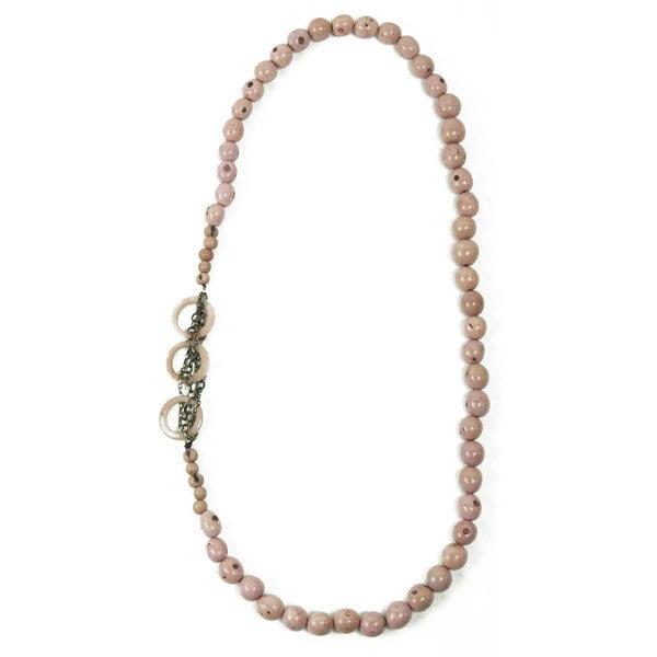 Sugar Pink Circle Chain Necklace (Ecuador)