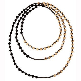 Soft Black and Natural Colorblock Rope Necklace (Ecuador)