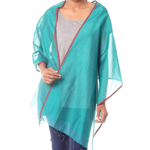 Handcrafted Silk Cotton 'Indore Meadow' Shawl (India)