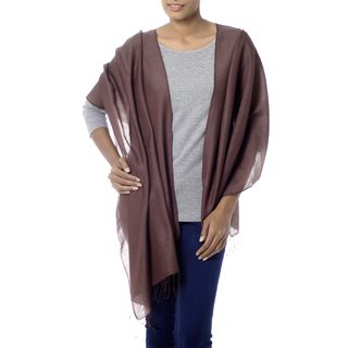 Handcrafted Silk Wool 'Chocolate Smoothie' Shawl (India)