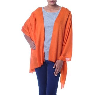 Handcrafted Wool 'Sunset Glamour' Shawl (India)