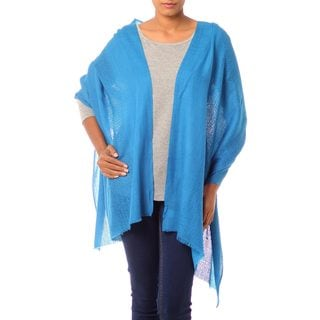 Handcrafted Wool 'Azure Allure' Shawl (India)