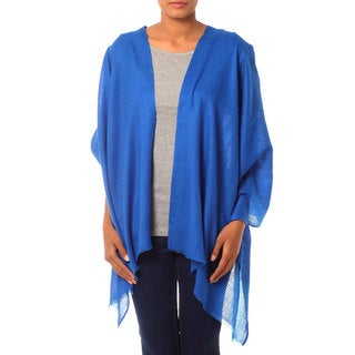 Handcrafted Wool 'Kashmiri Diamonds in Blue' Shawl (India)