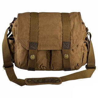 INSTEN Men Canvas Vintage Leather Shoulder Messenger Bag With Button Lock 13x10x4-inches