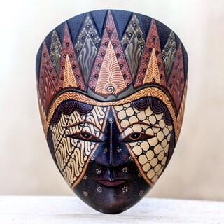 Hand-crafted 'Jogjakarta Sultan' Mahogany Batik Mask (Indonesia)