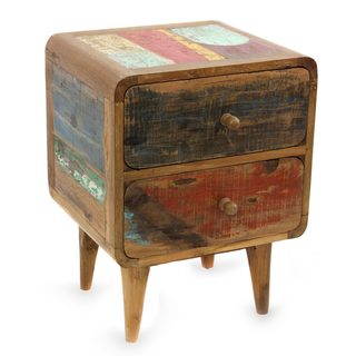 Handcrafted Teakwood 'Multicolor Rusticity' Side Table (Indonesia)