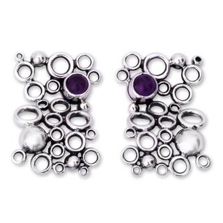 Handcrafted Silver 'Mischief' Amethyst Earrings (Mexico)