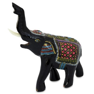 Lacquered 'Happy Elephant' Rain Tree Wood Figurine (Thailand)