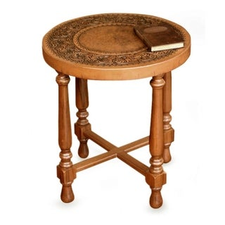 Handcrafted Wood Leather 'Colonial Light' Accent Table (Peru)