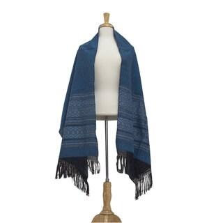 Zapotec Cotton 'Blue Zapotec Treasures' Rebozo Shawl (Mexico)