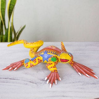 Handcrafted Copal Wood 'Rainbow Iguana' Sculpture (Mexico)