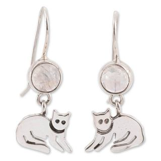 Sterling Silver 'Cool Kitty Cat' Moonstone Earrings (Mexico)