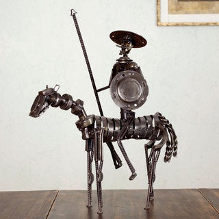 Handcrafted Auto Parts 'Rustic Heroic Quixote' Sculpture (Mexico)