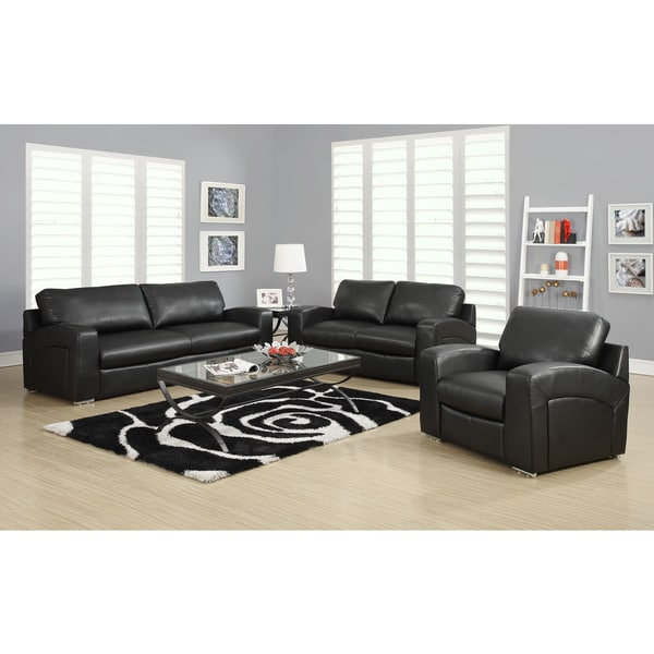Black Bonded Leather / Match Sofa