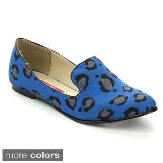 C-Label Women's SOPHIE-4D Slip On Leopard Print Ballet Flats