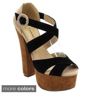 C-Label Women's KALIN-5 Ankle Strap Crossing Buckle Platform Heels