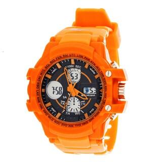 Everlast Sport Men's Analog Digital Round Watch with Orange Rubber Strap