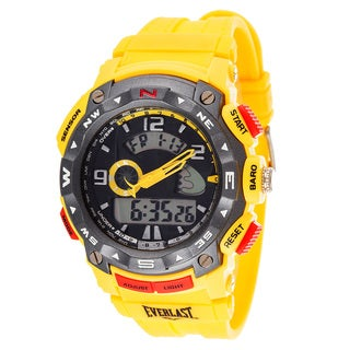 Everlast Diverse Sport Men's Dialog Round Watch with Yellow Rubber Strap