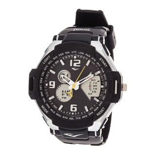 Everlast Diver Sport Men's Analog Digitlal Round Watch with Black Rubber Strap