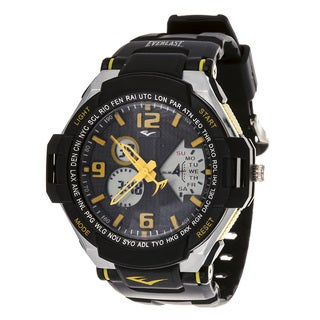 Everlast Diver Sport Men's Analog Digitla Round Watch with Yellow Rubber Strap