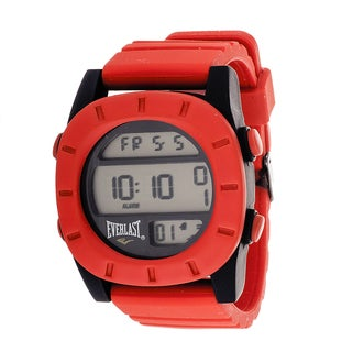 Everlast Sport Men's Digital Round Watch with Red Rubber Strap
