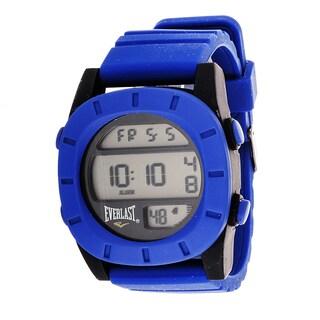 Everlast Sport Men's Digital Round Watch with Blue Rubber Strap