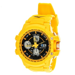 Everlast Sport Men's Analog Digital Round Watch with Yellow Rubber Strap