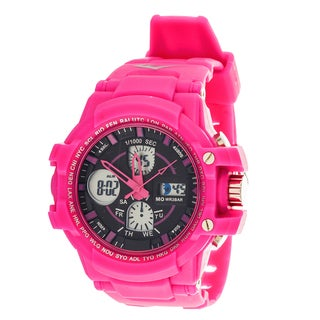 Everlast Sport Men's Analog Digital Round Watch with Pink Rubber Strap