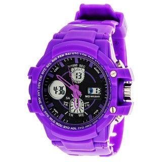 Everlast Sport Men's Analog Digital Round Watch with Purple Rubber Strap