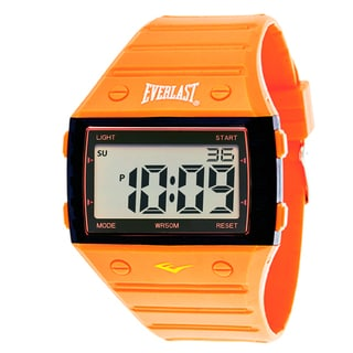 Everlast Sport Men's Square Watch with Orange Rubber Strap