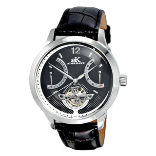 Adee Kaye Men's Attrito Black Leather Watch