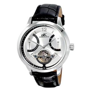 Adee Kaye Men's Attrito Silvertone Black Leather Watch