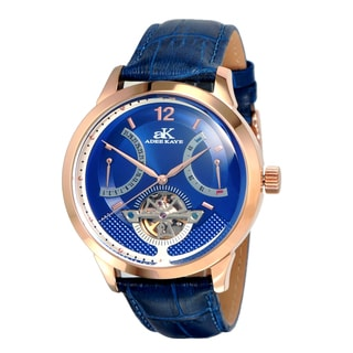 Adee Kaye Men's Attrito Collection Blue Leather Watch