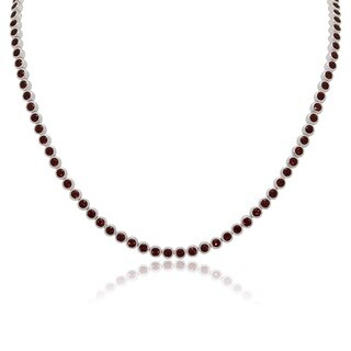 Sterling Silver Garnet Link Necklace