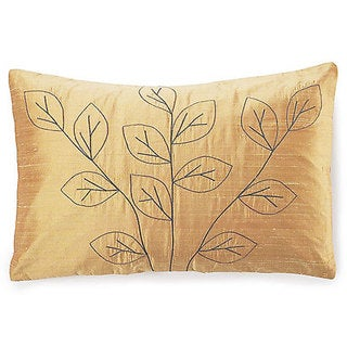Jiti Leaves Gold Silk Pillow