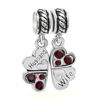 Queenberry Sterling Silver 'Husband Wife Love' Heart Red Rhinestones Crystal Clover Dangle European Bead Charm Set